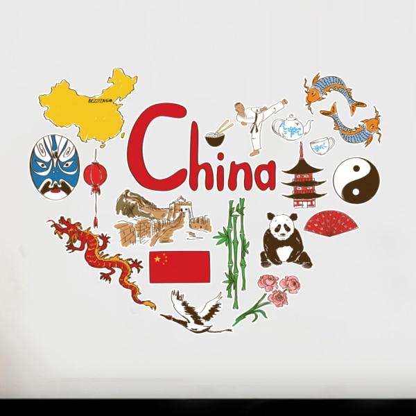 China Chinese Heart Shaped Illustration Travel Word