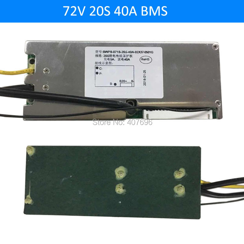 3.6V/3.7V cell 20S 72V 40A BMS Used for 72v 20AH 30ah 35ah 40ah battery 40A continuous With balance function free shipping image