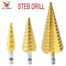 4-12 мм 4-20 мм 4-32 мм Метрическая спиральная Флейта Шаг HSS сталь 4241 конус с титановым покрытием сверла набор инструментов Дырокол