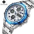 WWOOR Men Watch Top Brand Luxury Quartz LED Digital Clock Men Sports Watches Dual Display Military Wrist Watch Relogio Masculino