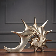 Gold White Blue Conch Statue Handicraft Decorations Christmas Decorations For Home Sculpture Escultura Home Decor Accessories