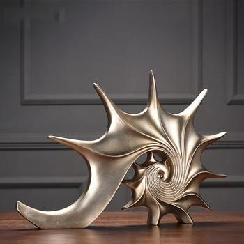 Oro Blanco Azul Concha Estatua Artesanía Decoraciones Adornos Navideños Para El Hogar Escultura Accesorios De Decoración Del Hogar