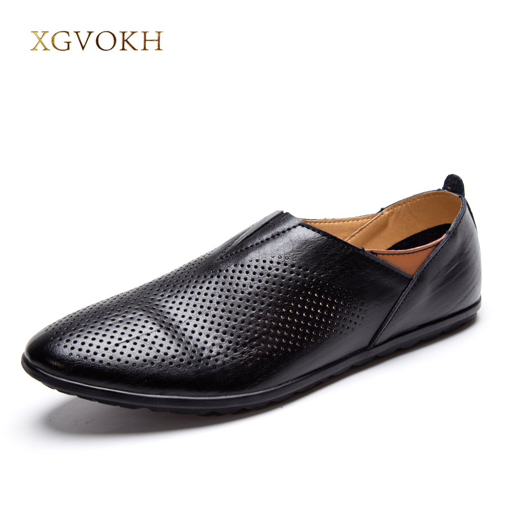 XGVOKH Mens Genuine Leather Driving Moccasin Loafers 37-47 Plus Size Breathable Hollow Men Casual Shoes Solid Summer Flats klywoo breathable men s casual leather boat shoes slip on penny loafers moccasin fashion casual shoes mens loafer driving shoes