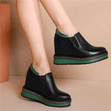 Tennis Shoes Women Black Genuine Leather Wedge Platform High Heel Punk Party Pumps Round Toe Shallow Oxfords Fashion Sneakers