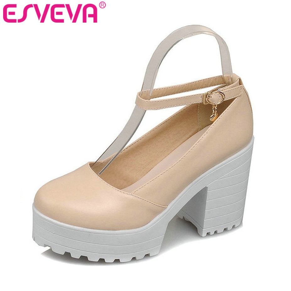 Punk Style Beige Thick High Heel Women Pumps Ankle Strap Round Toe Soft Leather Lady Platform Shoe Women Wedding Shoe Size 34-43 style beige