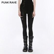 Женские черные облегающие леггинсы из искусственной кожи в стиле панк-рейв, панк-рок, женские готические брюки на шнуровке, повседневные уличные обтягивающие штаны