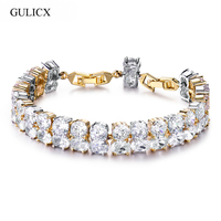 GULICX 2 Rows CZ Crystal Mixed Color White Gold Plated Multishaped Large Cubic Zircon Paved Big