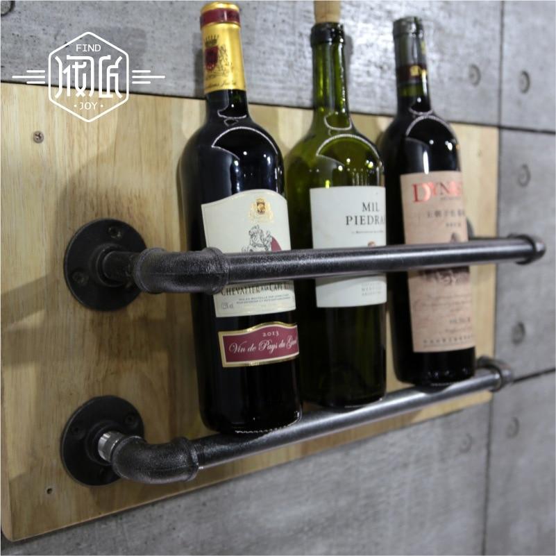 Industrial Pipe Wine Racks Metal Decorative Wine Holder Wall Hanging Shelf Wood Antique Wine Bottle Holders