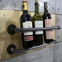 Industrial Pipe Wine Racks Metal Decorative Wine Holder Wall Hanging Shelf Wood Antique Wine Bottle Holders