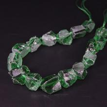 15.5/strand Natural Green Raw Crystal Rough Nugget Gravel Loose Beads,Cut Quartz Chips Pendants Necklace Jewelry Making