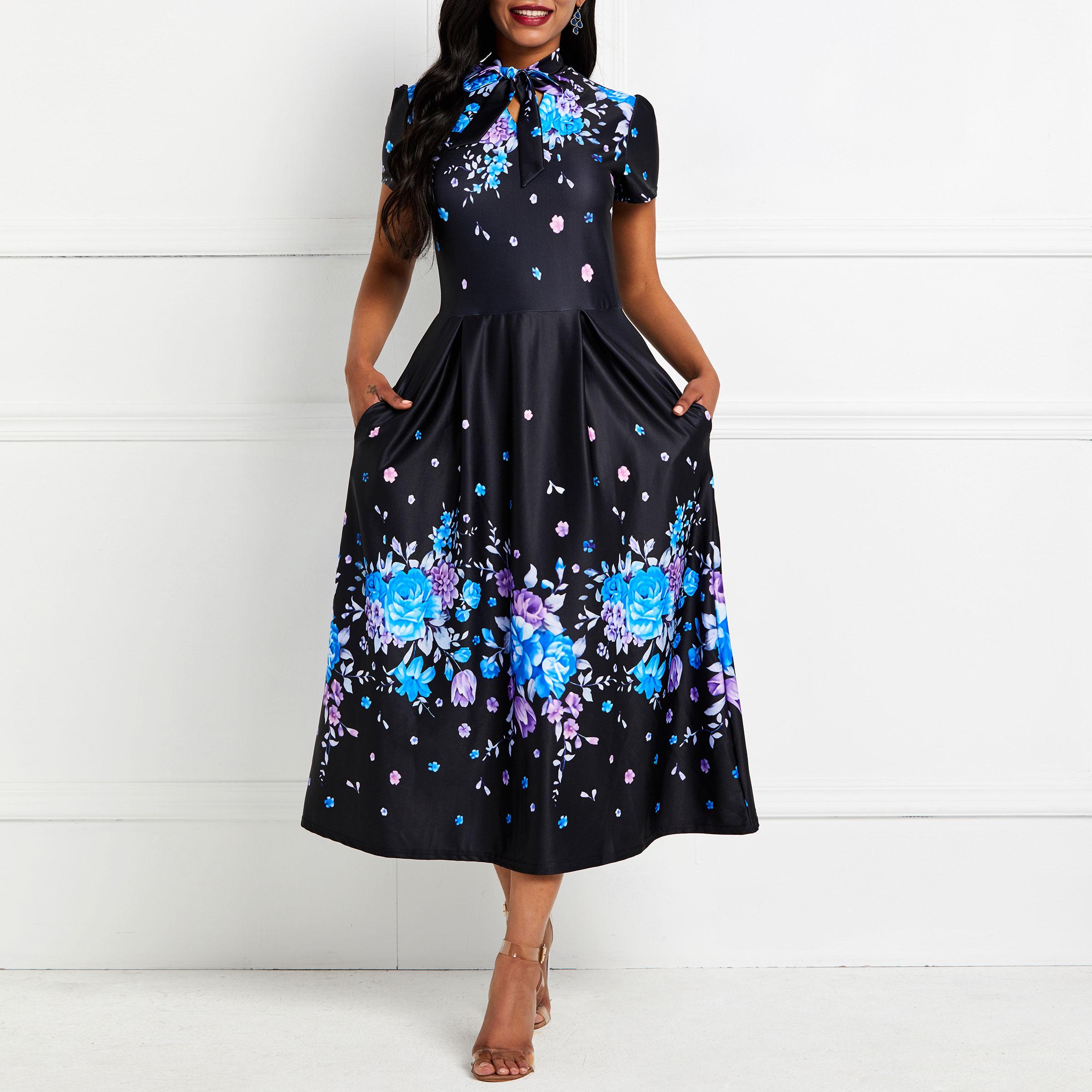 Summer Dresses Elegant Floral Print Fashion Women Blue Holiday Casual Street Ladies Slim Sweet A Line Robe Vintage Midi Dress