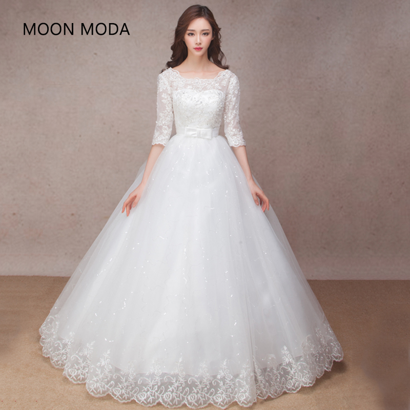 Long Half Sleeve Muslim Lace Wedding Dress High Quality 2019 Bride Simple Bridal Gown Real Photo Wedding-dress Vestido De Noiva