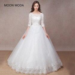 Meia manga longa vestido de casamento de renda muçulmana alta qualidade 2019 noiva simples vestido de noiva real foto de casamento-vestido de noiva