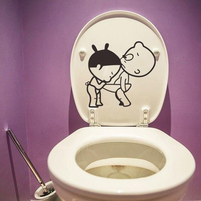 Fancy Cartoon Boy Girl Diy Bathroom Funny Toilet Seat Wall