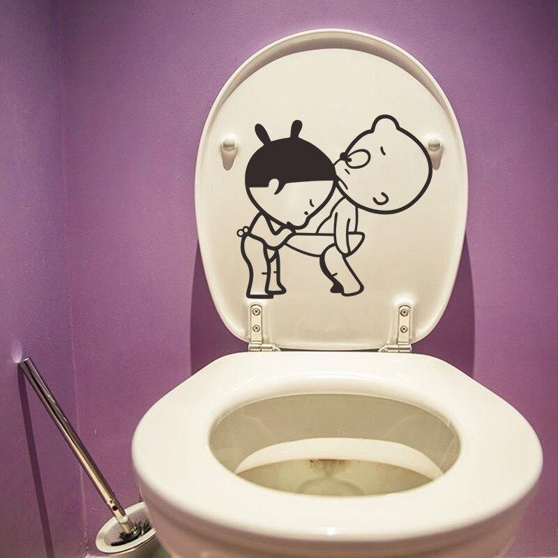 US $0.99 14% OFF|Phantasie Cartoon Jungen Mädchen DIY Badezimmer Lustige Wc  sitz Wandtattoo Wohnkultur Dekorative Karton Wandbild Für Waschraum ...