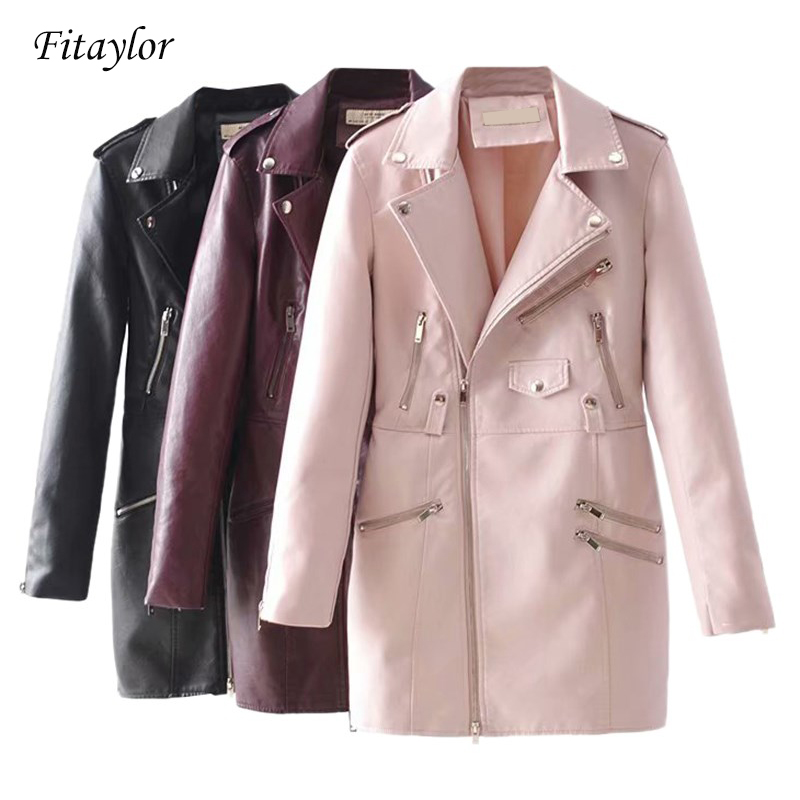 Fitaylor 2019 New Women Soft Faux   Leather   Long Jacket Autumn Winter Pu   Leather   Coat Female Motorcycle   Leather   Jacket