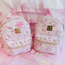 цена на Cute Hello Kitty Backpack Cartoon Children School Bag For Kids Best Gifts For Girls Bag Teenagers Backpack Hellokitty Travel Bag