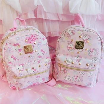 Cute Hello Kitty Backpack Cartoon Children School Bag For Kids Best Gifts For Girls Bag Teenagers Backpack Hellokitty Travel Bag new cartoon cute genuine hello kitty backpack hellokitty bag high quality pu pink school bags melody travel bag for girls gift