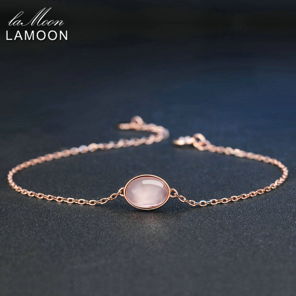 LAMOON Simple 8x6mm 100% Natural Oval Pink Rose Quartz 925 Sterling Silver Jewelry S925 Charm Bracelet LMHI023
