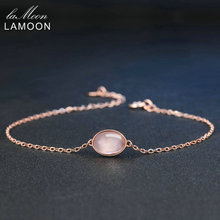 LAMOON Simple 8x6mm 100% Natural Oval Pink Rose Quartz 925 Sterling Silver Jewelry Rose Gold Plated S925 Charm Bracelet LMHI023