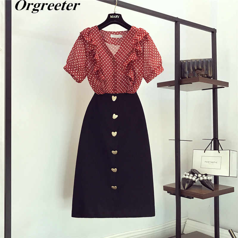 2019 Summer New Retro Polka dot Chiffon Shirt Love buckle Skirt Sets Ruffles Short Sleeve Tops and Mid-calf Skirt Two-piece Sets