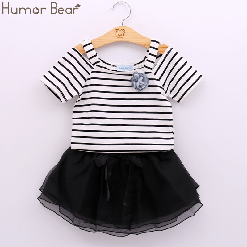 Humor Bear 2017 New Summer Baby Clothing Sets Girls Clothes Stripe T Shirt + Dress 2Pcs Suits Baby Girls Set Children Clothing girls clothes baby girl summer clothes ensemble fille girls clothing sets kids clothes print t shirt stripe dress suit twinset