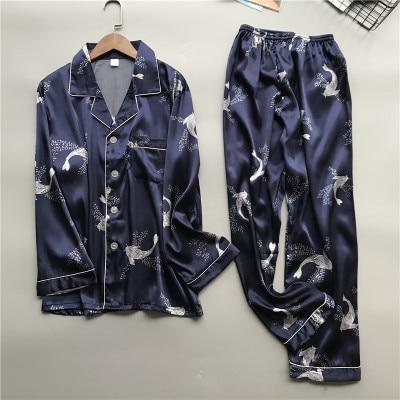 Daeyard Men Silk Pajama Set Spring Summer Soft Long Sleeve Shirts And Pants Pyjamas Sleepwear Casual Home Clothes Plus Size Suit