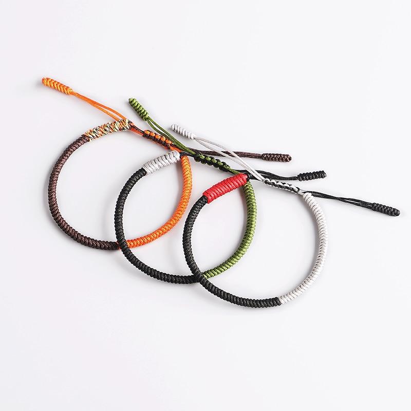mirada detallada 4cd64 199f6 Pulsera budista tibetana con nudos hechos a mano, pulseras y brazaletes de  cuerda de buena suerte, pulsera de budista ajustable para hombre, pulsera  ...