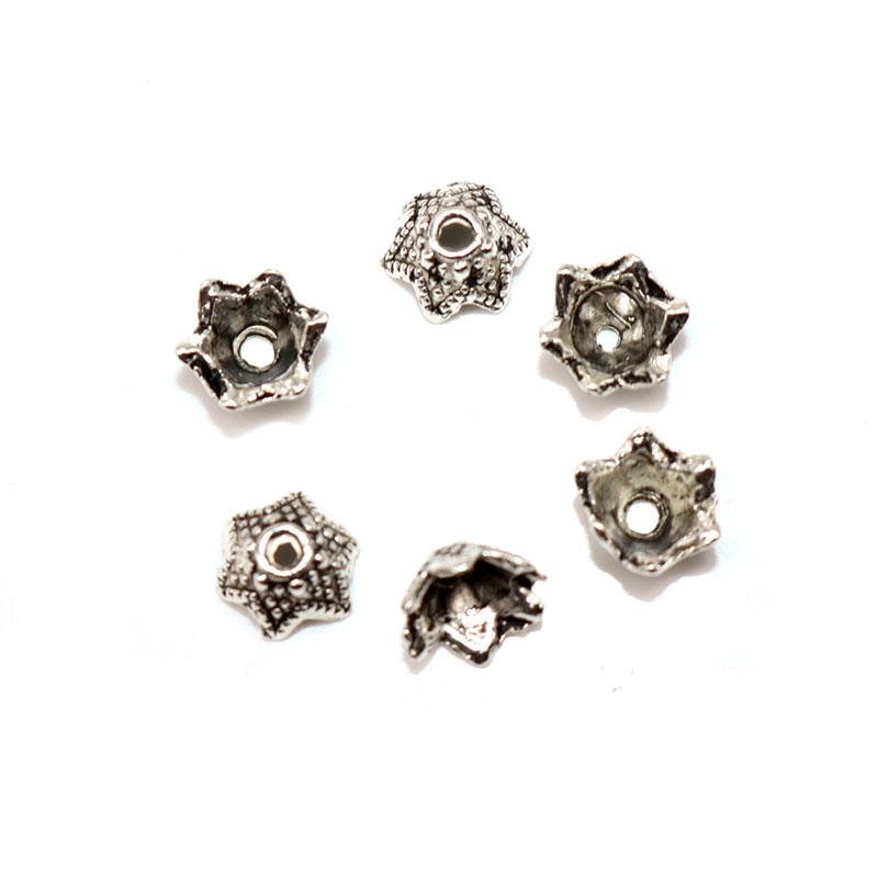 200pcs lot Tibetan Silver Plated Alloy Bead Caps Six Petals Flower Beads End Caps Charms Handmande For Jewelry Findings 6mm in Jewelry Findings Components from Jewelry Accessories