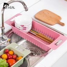 FHEAL Kitchen Sink Rack Vegetables Fruit Drain Basket Tableware Organize Drying Shelf Multifunction Kitchen Storage Holder