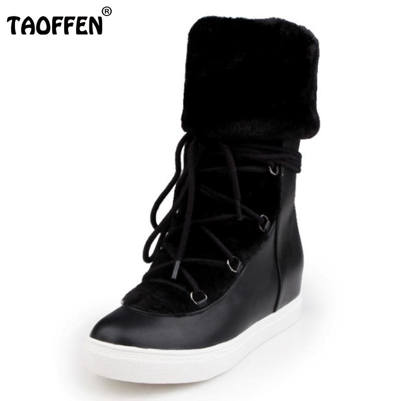 Hot Women Boots Snow Warm Winter Boots Botas Mujer New Lace Up Fur Mid Calf Boots Ladies Winter Shoes Footwear Size 32-42 new fashion winter snow boots women imitation fox fur snow boots mid calf winter shoes boots for women australia botas bls 056