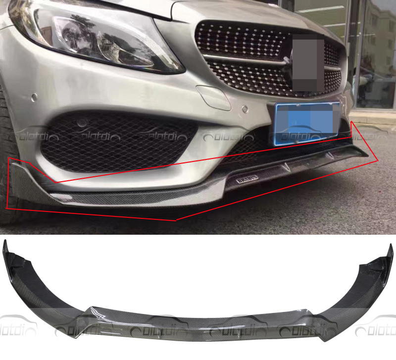 Real Carbon Fiber Bumper Front Splitter For Mercedes Benz W205 AMG Sedan For Brabus Style Front Lip 2015-2016 for mercedes cla carbon front bumper splitter
