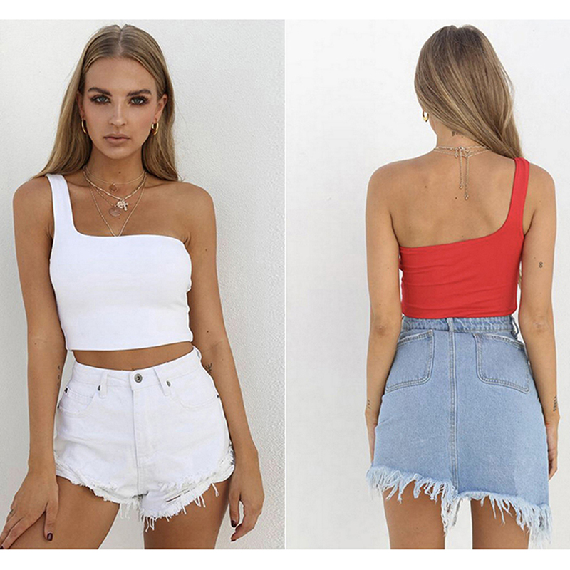 Solid Color Female Camisole Tops Summer Cami Women Cropped Tops One Shoulder Chest Wrapped Short Vest Sexy Nightclub Ladies