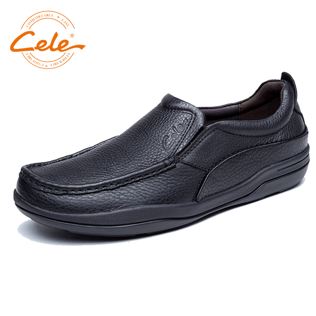 Men's Lightweight Slip-on Sneaker Fashion Breathable Loafer Casual Genuine Leather Shoes (US 8.5 Black)