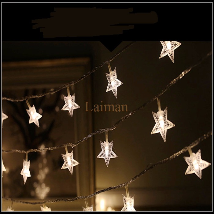 Nice 10M 100LED Garland Outdoor Star String Lights Five Point Star Shape  Christmas Xmas Decoration Wedding Party