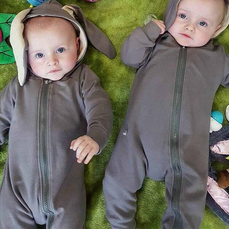 Cute Rabbit Ear Hooded Baby Rompers For Babies Boys Girls Clothes Newborn Clothing Jumpsuit Infant Costume Baby Outfit spring baby boys girls clothing winter baby hooded rompers cotton padded kids warm overalls climb clothes for newborn babies