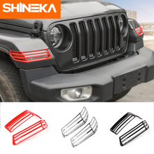 SHINEKA Lamp Hoods ABS Car ABS Wheel Eyebrow Lampshade Protection Headlight Trim Cover For Jeep Wrangler Sahara JL 2018+