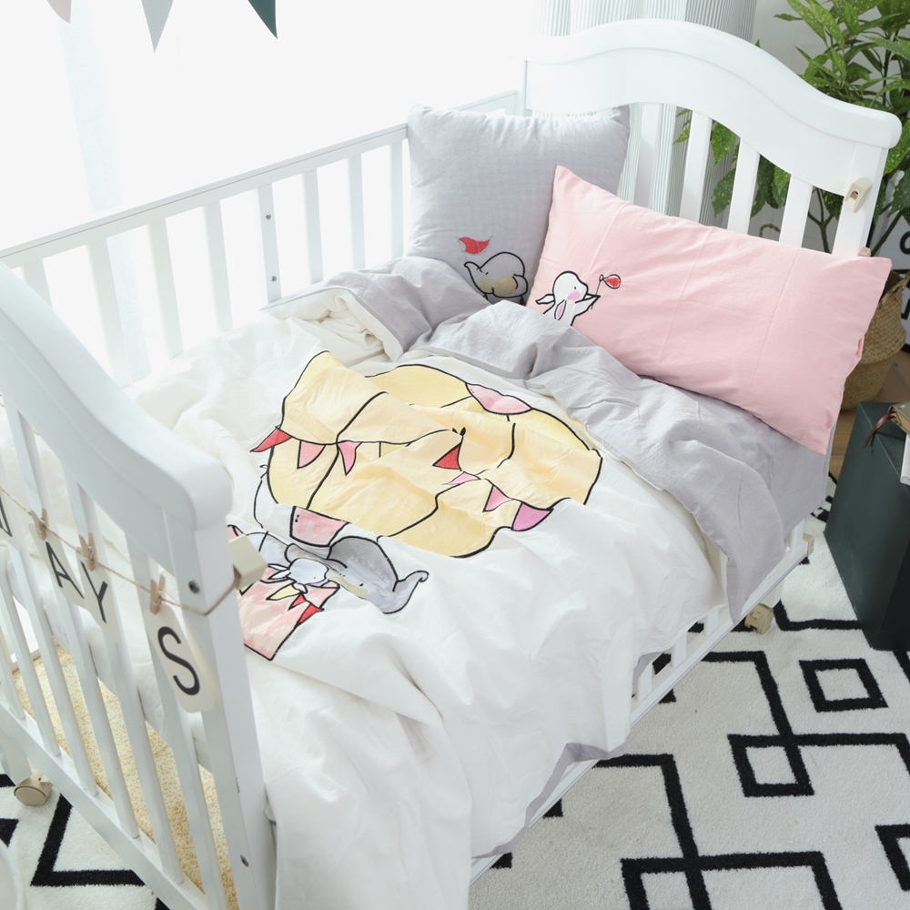 Crib protector for babies - Hot Air Balloon Elephant Printed Duvet Cover Grey Bed Sheet Pillowcase Cotton Baby Bedding Set Twin Baby Crib Size Bed Linens
