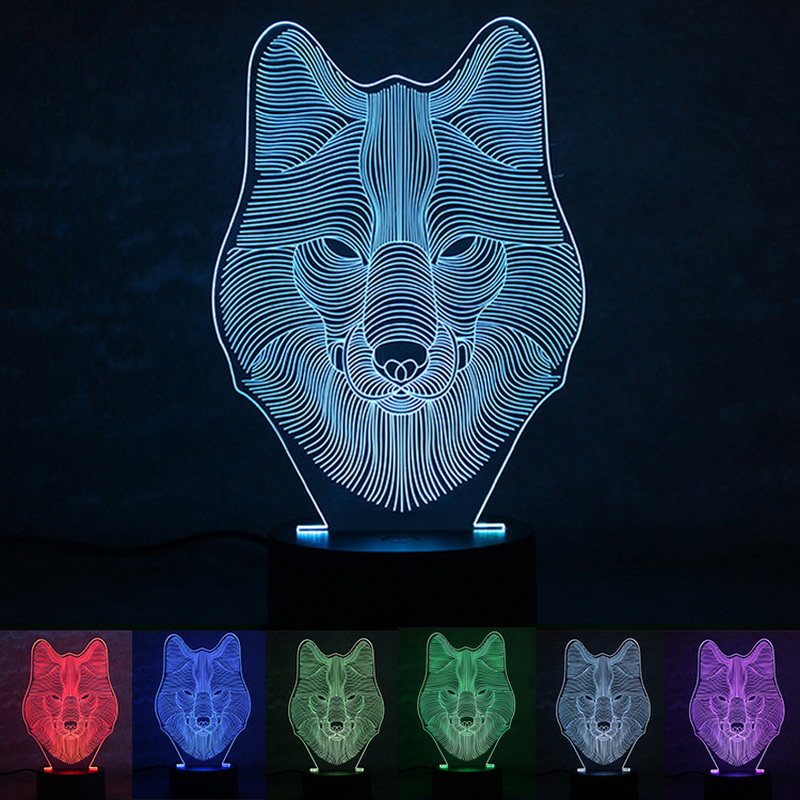 USB Powered Wolf 3D Night Light LED Desk Lamp Novelty Lights Touch Key Decoration Atmosphere Light Use Home Hotel Party Holiday
