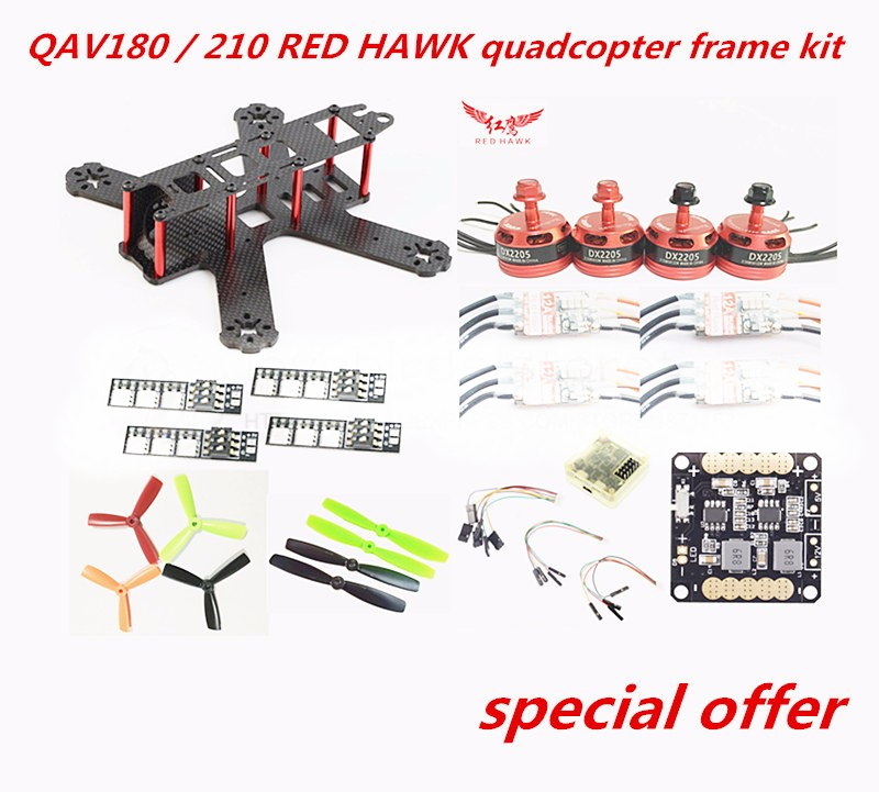 DIY FPV race mini drone QAV quadcopter frame kit pure carbon frame + RED HAWK DX2205 2300KV + RED HAWK BL12A ESC OPTO + CC3D diy mini fpv 250 racing quadcopter carbon fiber frame run with 4s kit cc3d emax mt2204 ii 2300kv dragonfly 12a esc opto
