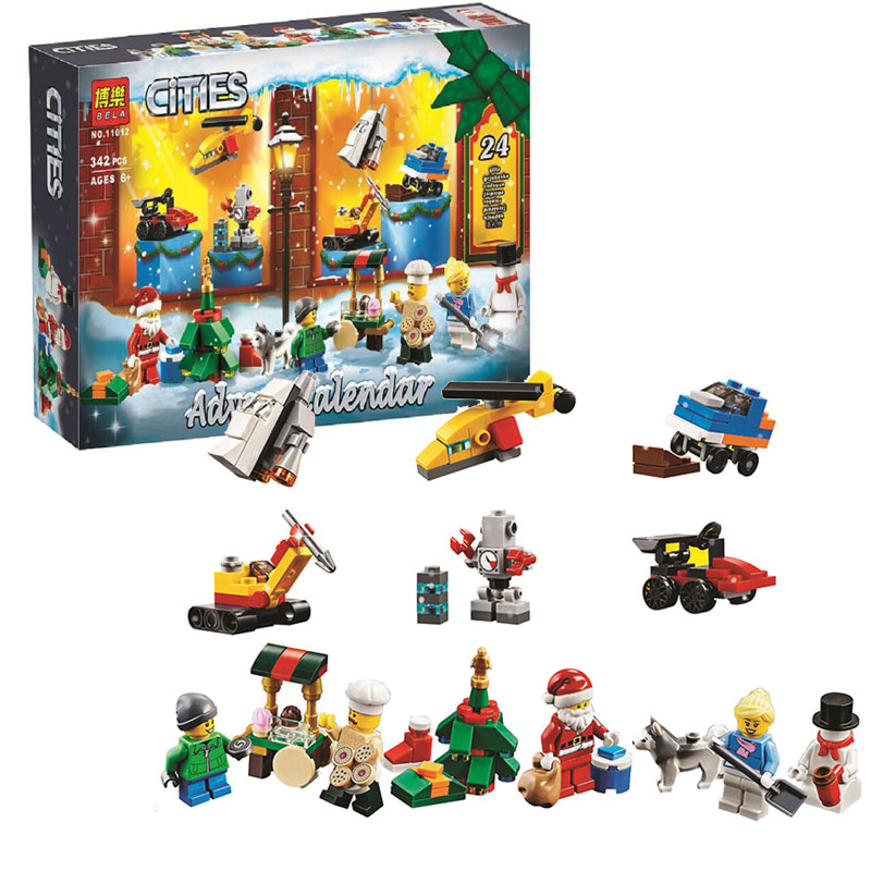 Bela 11012 City Advent Calendar Building Block Bricks Toys Compatible With Legoings Friends 60201 Christmas Gift