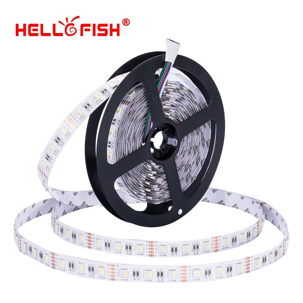 5050 RGBW led diodo tira de luz DC 12V flexible franja de luz 5m 300 LED cinta RGB blanco cálido 4 colores en un chip Hello Fish 6 unids/lote 54X3W/36x3w LED placa base par RGBW DC 12-36V placa base de presión constante 4/8CH accesorio de luz de escenario profesional