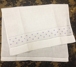 Fashion Unisex Handkerchiefs 12PCS/Lot14x22Linen Vintage Holiday Handkerchief Embroidery Light purple Dot Hankies For Occasions
