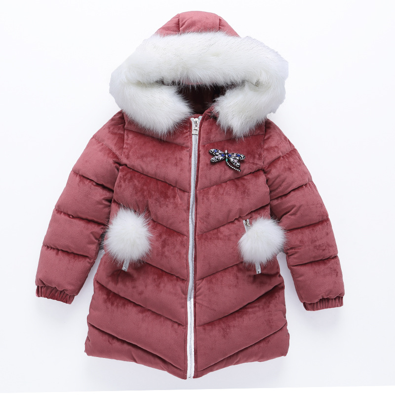 Girl Jacket Winter Fashion Down Jacket Girl Winter Winter Warm Cotton-padded Clothes In Park Happy To Play New Year Clothing winter down jacket children s sets girl clothing white new year a lively girl dressed down jacket in park happy to play
