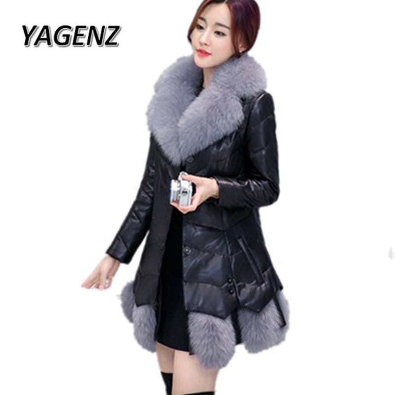 High-grade PU   Leather   Jacket Women Coats 2019 Winter Slim Down cotton Big fur collar Warm Outerwear Parkas Women Casual Jackets