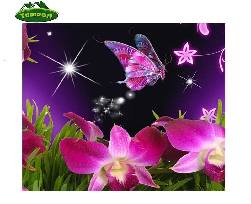 5D DIY Diamond Painting Butterfly Flower And Cross Embroidery Kits Decor Mural