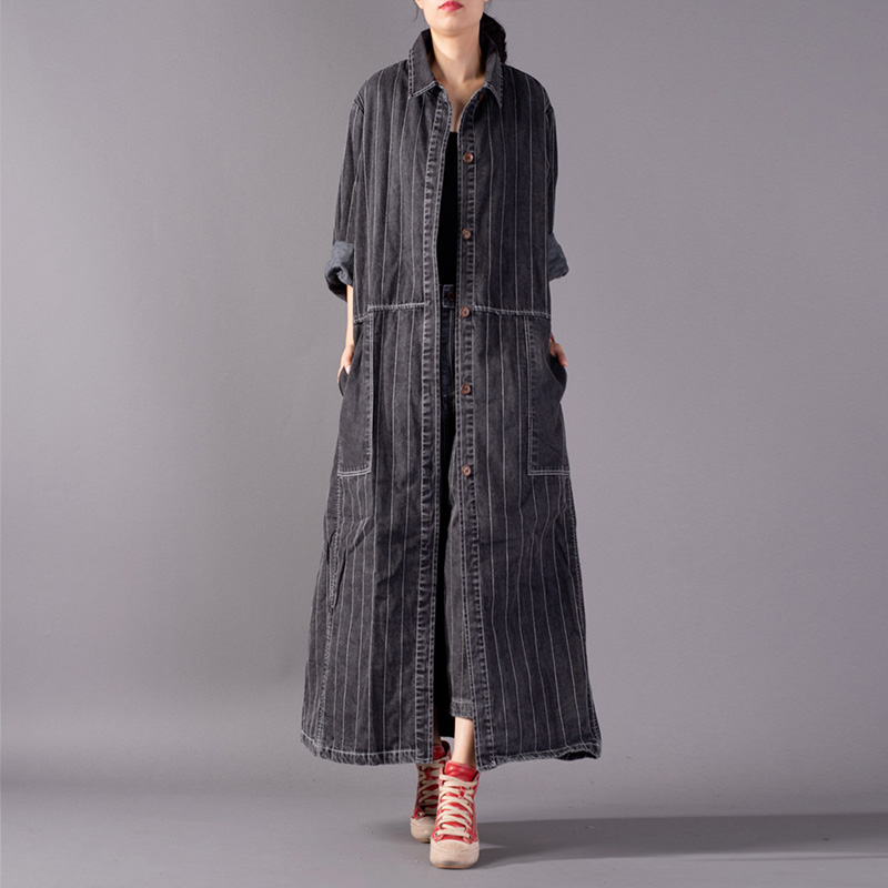Johnature Women Vintage Bandage   Trench   Pockets Button Coats 2018 Fall New Casual Striped Full Sleeve Turn-down Collar Long Coats