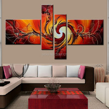 Handmade Fire birds Oil Painting Red burn fire art Modern Abstract 4 Panel Wall Canvas Art Sets Decorative Picture Unframed