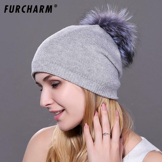 2018 nuevos sombreros para niñas gorro tejido de lana con 100% pompón de  piel de b179cc4d0232