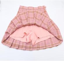 2017 Корейская версия Новинка Высокая талия короткая юбка в духе колледжа слово решетки юбка женская